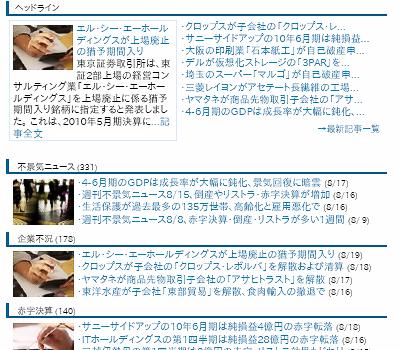不景気.comヘッドライン。大阪の印刷業石本紙工が自己破産申請、4-6月期のGDPは成長率が大幅に鈍化、など。