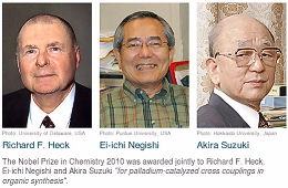 The Nobel Prize in Chemistry 2010: Richard F. Heck, Ei-ichi Negishi, Akira Suzuki (left to right)